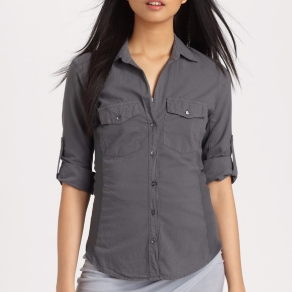 James Perse Contrast Ribbed Button Down Shirt